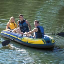 Barco Bote Inflável Intex Challenger -3 Pessoas -Remos e Bomba - Azul
