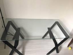 Mesa de vidro 1,60 x 0,80 m x 10mm