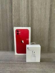 iPhone 11 64GB vermelho LACRADO + FONTE USB C TURBO original