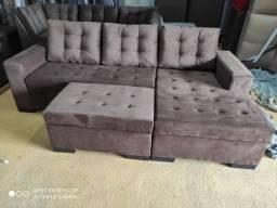 Sofá chaise com puff
