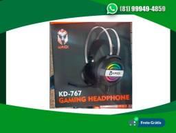 Headset Gamer P2-Usb c/ Microfone e LED Kaidi KD-767