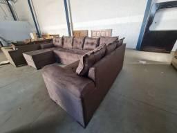 Sofá de canto com chaise grande novo no Pregão 2 Irmãos