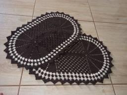 Tapete de crochê oval marrom café