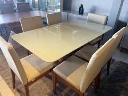 Mesa nova linda mesa de jantar seis cadeiras resistente de madeira maciça