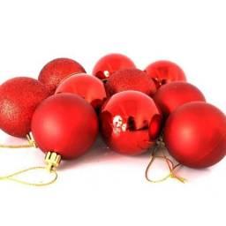 Bola de Natal Vermelha Mista 5cm - 12 unidades tubo