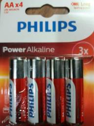Pilha Alcalina AA Philips PowerLife LR6P4B/97 1.5V - 4 Unidades