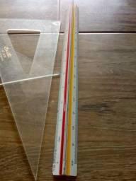 Kit material de desenho: Escalímetro + Par de esquadro + Compasso