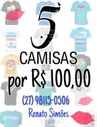 Camisas - 5 por 100 reais
