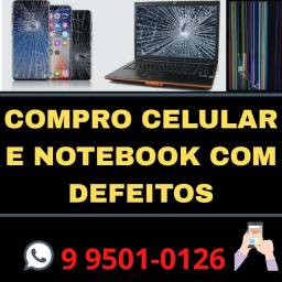 Celular com display quebrado.