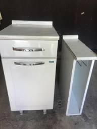 Balcão de cozinha aço 1 porta 1 gaveta + Balcão Porta-pano Itatiaia