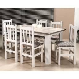 Conjunto De Mesa e 6 Cadeiras 152/09 Branco Sarturini