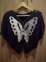 Blusa lantejoulas borboleta