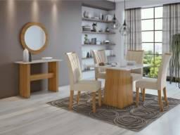 Conjunto de Mesa 4 Cadeiras MDF Tampo de Vidro Nevada Slim - Lopas