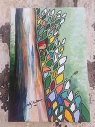 Quadro, pintura em tela Green lives matter - Forest eyes