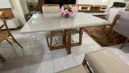 Mesa de madeira menor 4 lugares nova completa