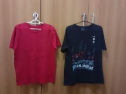 Camiseta masculina algodão (M) As duas por 20,00