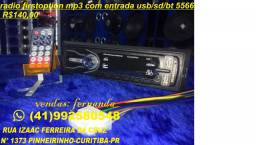 Radio de carro mp3 com entrada usb /sd/ bt com bluetooth