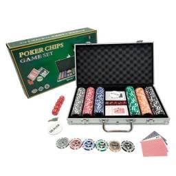 Maleta de Poker de com 300 Fichas e um Dealer Button