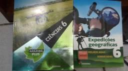 Livros novos de ciencias e geografia.
