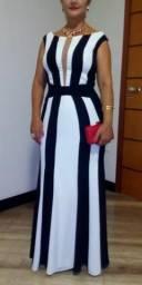 Vestido de festa longo listrado preto e branco seminovo