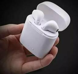 Fone de ouvido Bluetooth I7s acompanha o case