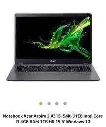 Notebook acer 315 i3