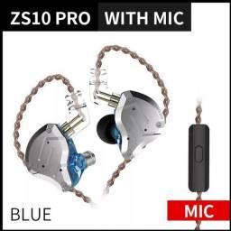 Fone De Ouvido Kz Zs10 Pro - Azul Com Microfone