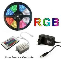 Fita Led RGB 5 Metros Fonte e Controle