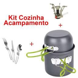 Kit Cozinha Acampamento 2 Panelas 3 Talheres 1 Acendedor Alumínio Anodizado