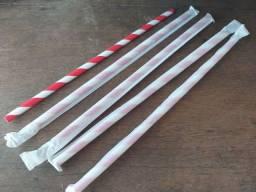 250 Canudos de papel resistentes 6 e 8mm, envelopados individualmente pacote com 250