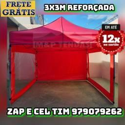 Tenda Sanfonada 3x3m reforçada com as  laterais