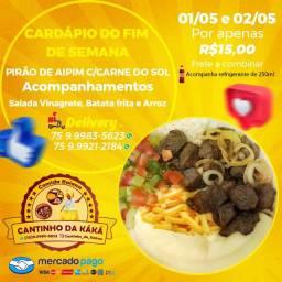 Pirão de Aipim com Batata frita e Carne do Sol, vinagrete, arroz e um refri de 250ml