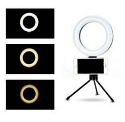 Ring Light Iluminador 6 Polegadas 16cm Led Tripé Com Suporte De Celular
