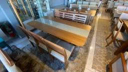 Mesa toda de madeira maciça de 6