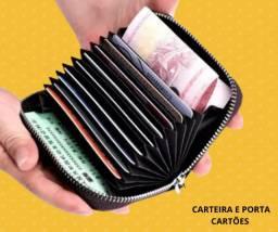 Mini carteira e porta cartões modelo ziper preto