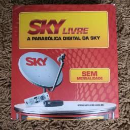 Kit Antena e receptor digital SKY Pré-Pago, sem mensalidades.