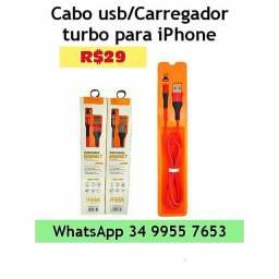 Cabo /Carregador turbo iPhone*Entrega Grátis