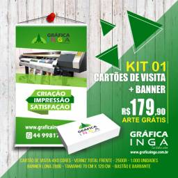 Kit 1000 Cartões de visita + Banner em lona 70 cm x 120 cm