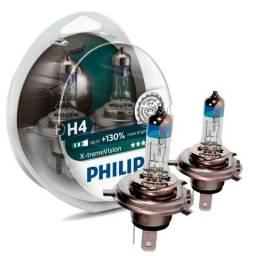 Par Lampada H4 Philips Xtreme Vision 3350k 130% + Visão
