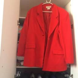 0288008209 Blazer de lan vermelho forrado