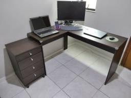 Mesa para Computador c/ 1 Gaveta / Semi Novo + Gaveteiro c/ 4 Gavetas / Semi Novo