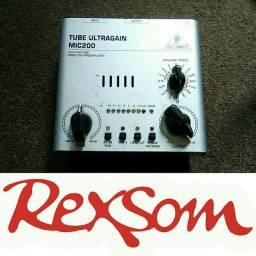 Pré ampli valvulado mic 200 Behringer p microfone guitarra violão rexsom