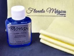 Kit 1 Limpa Prata Monzi 35 ml + 3 Flanelas Magicas