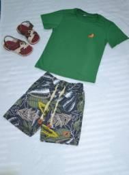 Conjunto infantil masc. Bermuda moletinho/camisa 100% algodão