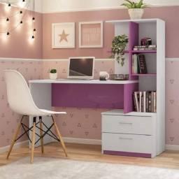 Escrivaninha 2 Gavetas com Prateleiras Poli Branco / Rosa