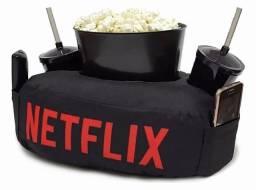 Almofada Netflix Pipoca + Copos + Balde - Pronta entrega