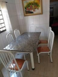 Conjunto de Mesa Tubular Granito com 6 cadeiras