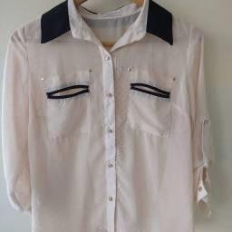 Camisa de botão com transparência