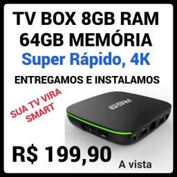 TV BOX R69, 8GB RAM, 64GB MEMÓRIA, Android 10.1 Wi-Fi, SmartTV, Nov
