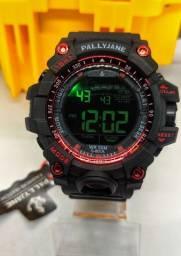Relógio Esportivo Pallyjane Preto com Vermelho